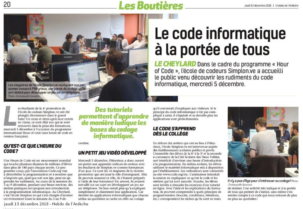 Initiation au code avec les apprenants de Simplon Le Cheylard Hebdo de l'Ardèche