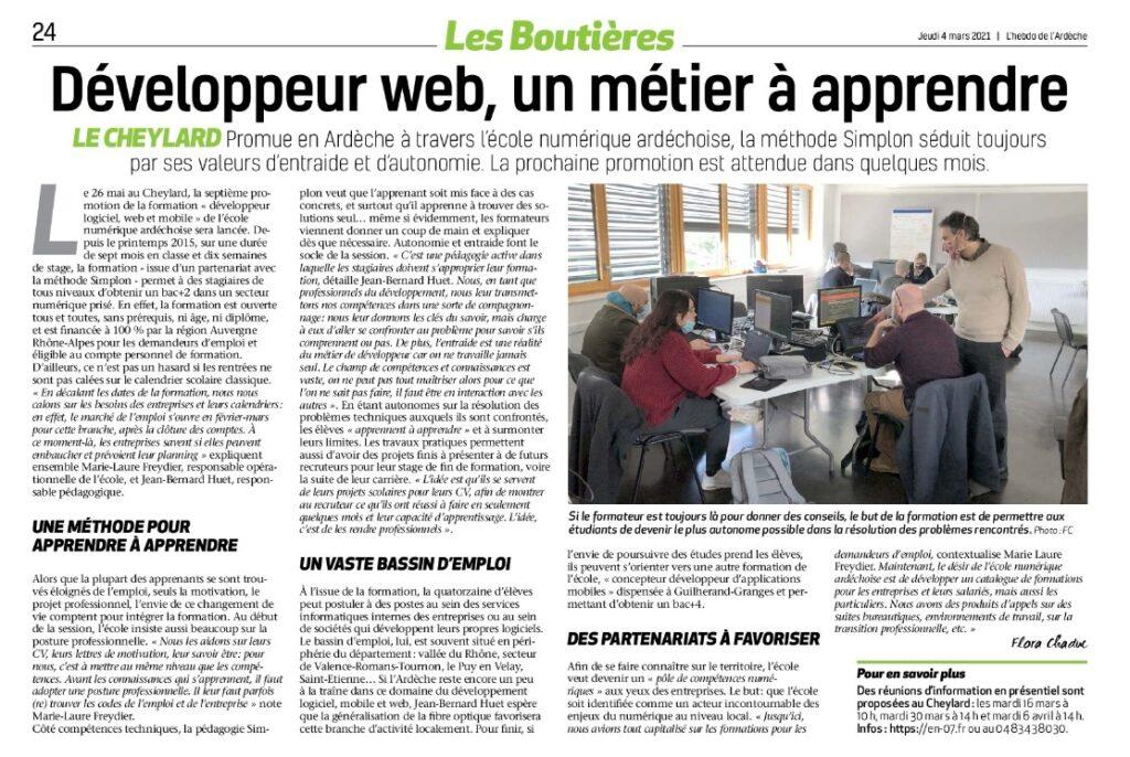 Ecole numérique Ardéchoise, développeur webet mobile